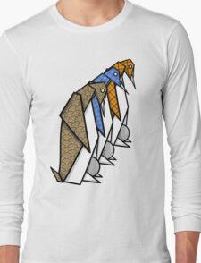 Patterned Origami Emperor Penguins Long Sleeve T-Shirt