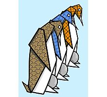Patterned Origami Emperor Penguins Photographic Print