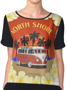 21 Window VW Bus Red Surfboard North Shore Chiffon Top