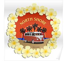21 Window VW Bus Red Surfboard North Shore Poster