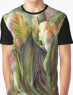 Pink Parrot Tulips Graphic T-Shirt