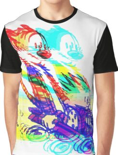 Calvin and Hobbes Glitch Art Graphic T-Shirt