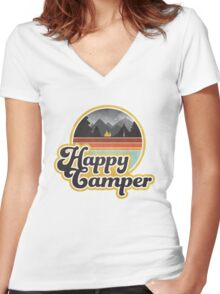 Happy Camper (Retro) Women's Fitted V-Neck T-Shirt
