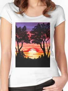 Pink Sunset Painting Women's Fitted Scoop T-Shirt