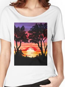 Pink Sunset Painting Women's Relaxed Fit T-Shirt
