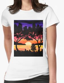 Nature's Gift Ocean Sunset Painting Womens Fitted T-Shirt