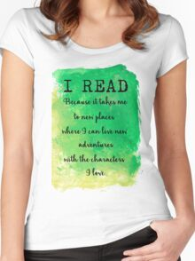 I READ  Women's Fitted Scoop T-Shirt