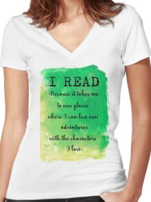 I READ  Women's Fitted V-Neck T-Shirt