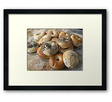 Bagels on a tray Framed Print