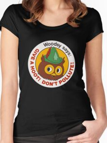 Give a Hoot!  Women's Fitted Scoop T-Shirt