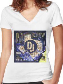 Dj Screw Women's Fitted V-Neck T-Shirt