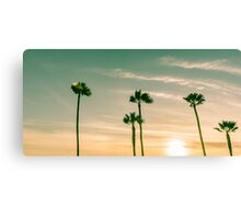 Retro image sun setting on horizon through tropical palms. Canvas Print