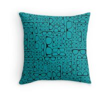 Glasses on Teal Throw Pillow