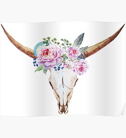 Boho skull with roses Poster