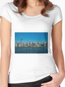 Manhattan view from Hudson Women's Fitted Scoop T-Shirt