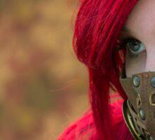 Mysterious Steam Punk Red Head Sticker