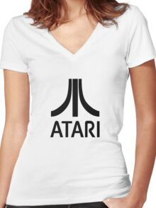 Atari Black Women's Fitted V-Neck T-Shirt