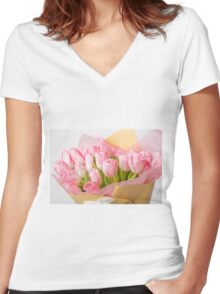 Bouquet of pink tulips Women's Fitted V-Neck T-Shirt