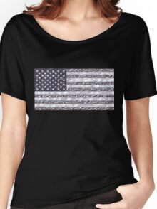 USA Flag Chrome Women's Relaxed Fit T-Shirt