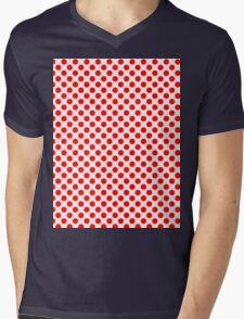 Polka Dot Red and White Pattern Mens V-Neck T-Shirt