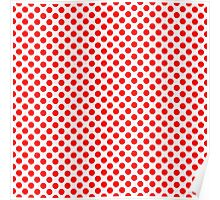 Polka Dot Red and White Pattern Poster