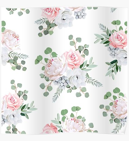 Cute bouquets of rose, peony, anemone, brunia flowers and eucalyptus leaves Poster