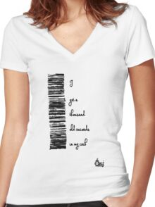I've got a thousand old records... Women's Fitted V-Neck T-Shirt