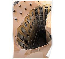 The Lost Straw Hat - Antoni Gaudi's La Pedrera Courtyard From Above - Vertical Poster