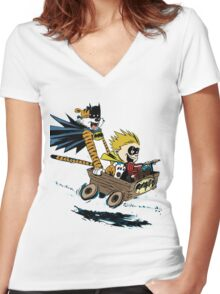 Calvin Hobbes Explore Women's Fitted V-Neck T-Shirt