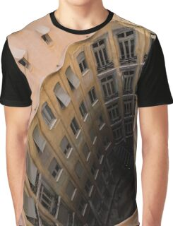 The Lost Straw Hat - Antoni Gaudi La Pedrera Courtyard From Above - Vertical Graphic T-Shirt