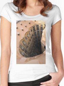 The Lost Straw Hat - Antoni Gaudi La Pedrera Courtyard From Above - Vertical Women's Fitted Scoop T-Shirt