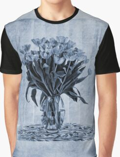 Watercolour Tulips in Blue Graphic T-Shirt