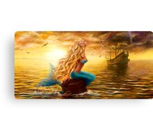 beautiful Fantasy Sea Mermaid with Ship at Sunset background Canvas Print