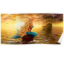 beautiful Fantasy Sea Mermaid with Ship at Sunset background Poster