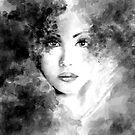 Beautiful woman face. Abstract fashion illustration by Alena Lazareva