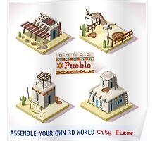 Western Rural Pueblo Tiles Poster