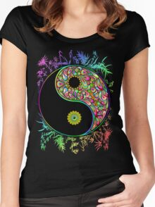 Yin Yang Bamboo Psychedelic Women's Fitted Scoop T-Shirt