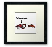 Funny Cool Crabby Crab Cartoon Framed Print
