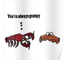 Funny Cool Crabby Crab Cartoon Poster