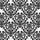White and Black Damask Pattern by cinn