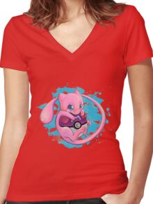 Huging Mew Women's Fitted V-Neck T-Shirt