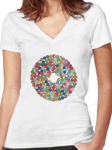Button Floral Women's Fitted V-Neck T-Shirt