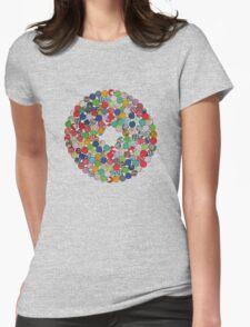 Button Floral Womens Fitted T-Shirt
