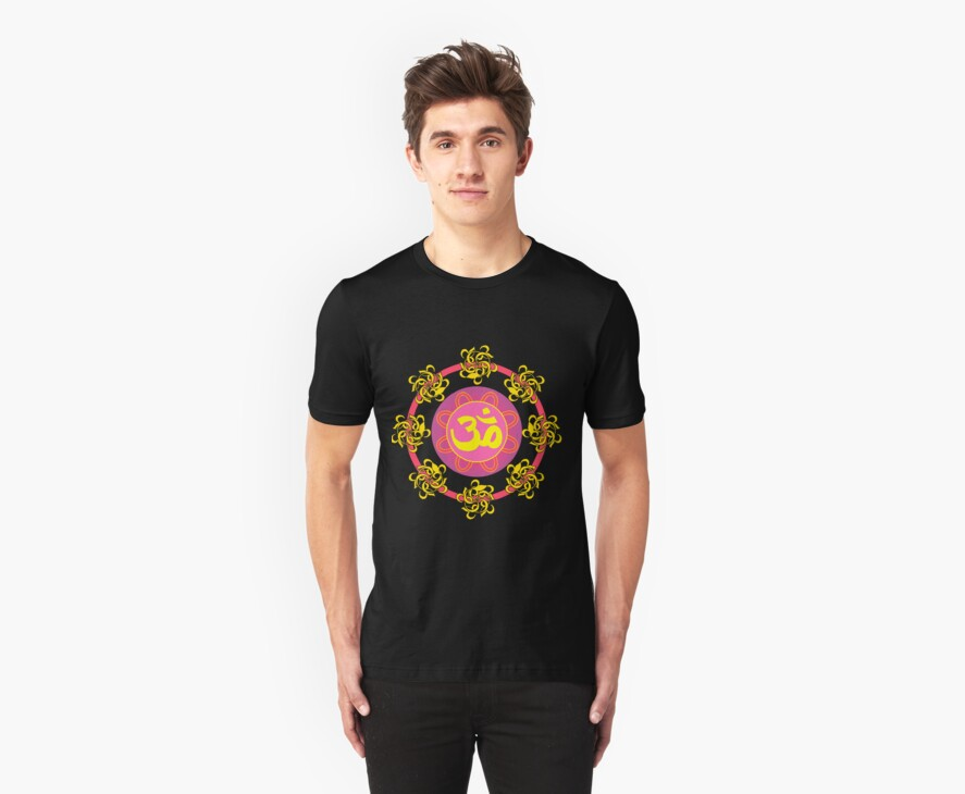 Om in Pink and Yellow Wheel by cinn