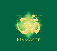 Om or Aum Symbol with Namaste quote Green Unisex T-Shirt