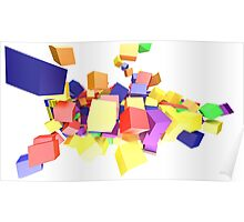Colorful Cube Explosion Poster