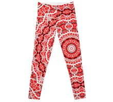 Kaleidoscope Red White Random Stripes Leggings