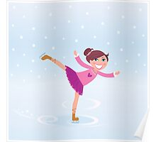 Beautiful cute Girl on Ice Poster