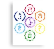 The 7 Main Chakras in a Circle Metal Print