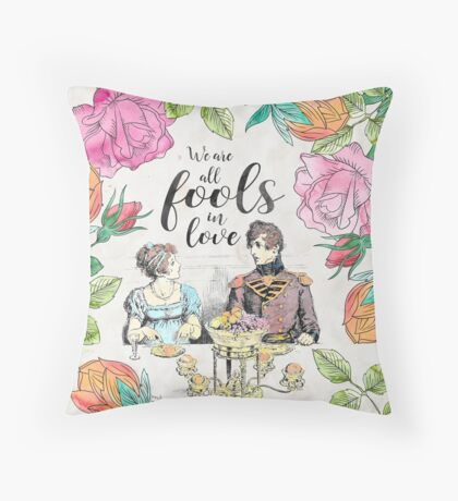 Pride and Prejudice - Fools in Love Throw Pillow